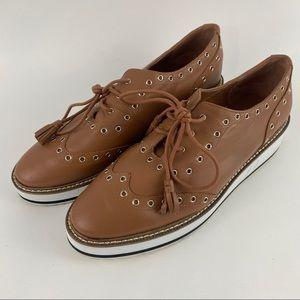 Shellys London Brown Oxford Eyelet Platform Shoes